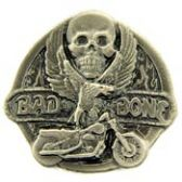 BAD TO THE BONE WINGED SKULL LAPEL PIN